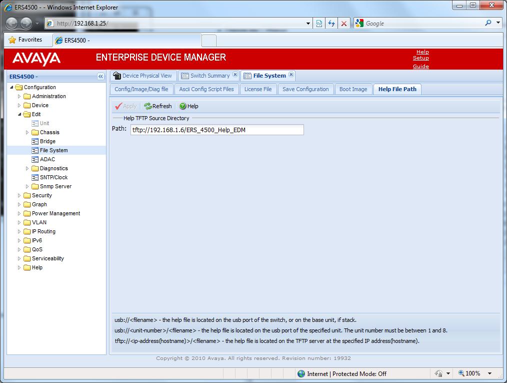 Avaya Enterprise Device Manager – Help Files