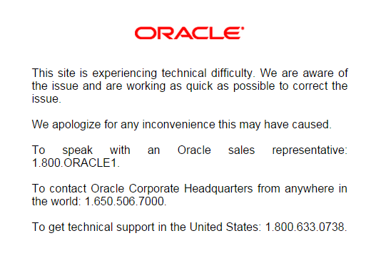 Oracle Website Down