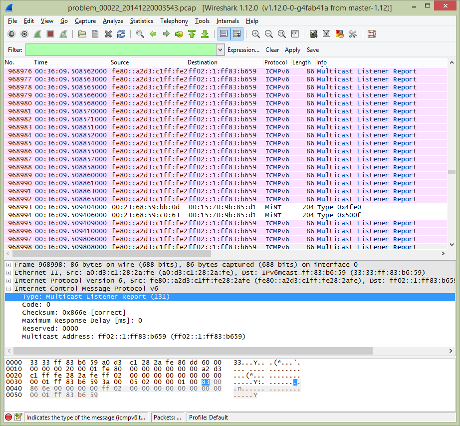 WireShark-ICMPv6MulticastListenReport