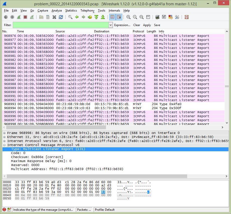 WireShark-ICMPv6MulticastListenReport