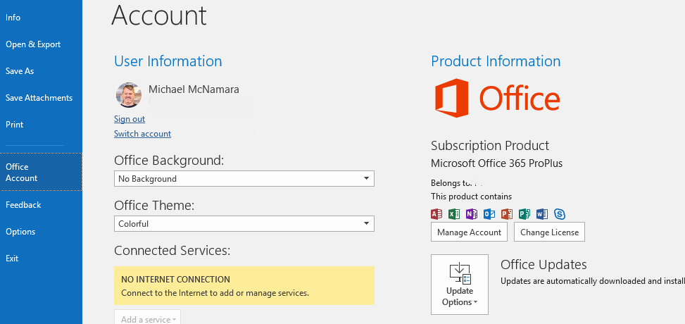 No Internet Connection – Microsoft Office – Pulse Secure
